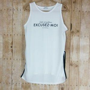 Zara Excusez-Moi Cream Colored High Low Tank Sz L